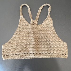 Knitted olive green crop